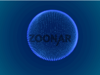 Cyber space concept: 3d digital sphere consisting of glowing particles.