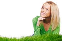Happy woman on grass