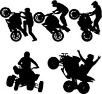 Set silhouettes Rider participates motocross championship on white background