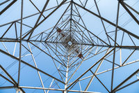 upward view of electricity pylon