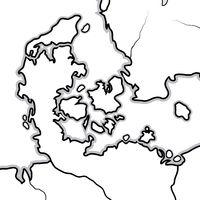 World Map of DENMARK: Denmark, Jutland, Zealand, Scandinavia, North Europe, North Sea. Geographic chart.