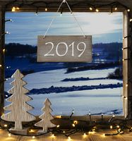 Window Frame With Lights, Winter Landscape, Text 2019