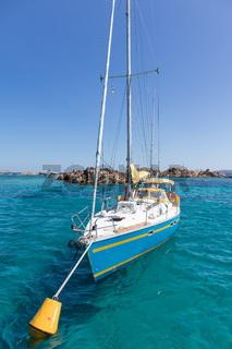 Colorful sailing boat in Maddalena Archipelago, Sardinia, Italy.