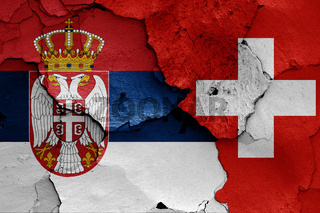 flags of Serbia and Switzerland