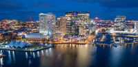 Aerial View Over Baltimore Downtown City Skyline Inner Harbor