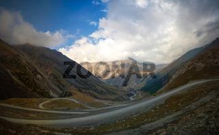 serpentine road to Barskoon pass, river and gorge and Sarymoynak pass, Jeti-Oguz, Kyrgyzstan
