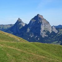 Green meadow, Mount Kleiner Mythen and Mount Grosser Mythen, Swiss Alps.