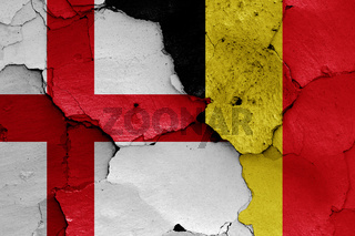 flags of England and Belgium