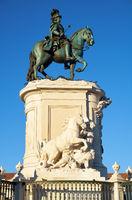 The King Jose I monument on the Praca do Comercio. Lisbon. Portugal