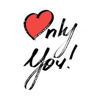 Only You - Lettering with red heart