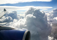 The view from the window of a passenger plane during