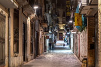 View on the night streets of old town