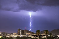 Electrical Storm Lightning Striking over Downtown Tucson Arizona United States