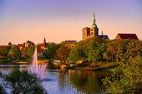 evening scene with skyline of historic Stralsund