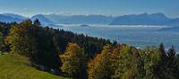 Blick vom Pfänder über Bregenz zum Säntis und Altmann, in den Schweizer Alpen