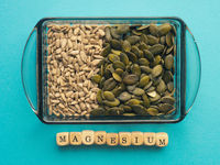 Sunflower and pumpkin seeds in a bowl