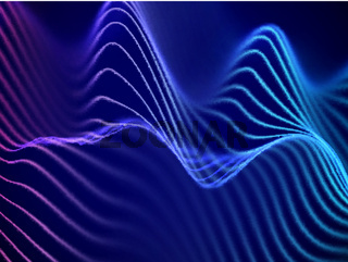3D visualization of sound waves. Big data or information concept: Blue-pink chart.