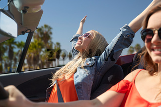happy young women driving in car over venice beach