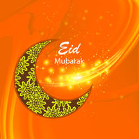 Happy Eid Mubarak Islamic Design on Orange Sky Background