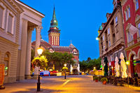 Subotica city hall and main square evening view