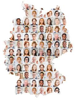Generationen Portrait Collage auf Deutschland Karte