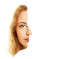 Gesicht einer Frau frontal und seitlich als optische Täuschung