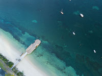 Aerial view of Shoal Bay Jetty Port Stephens