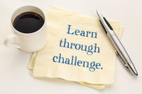 Learn through challenge advice on napkin