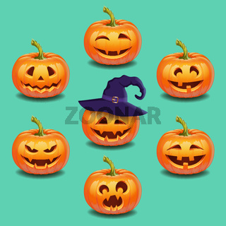 Set of bright colorful halloween pumpkins face, emotion.