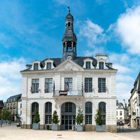 the picturesque and historic city hall building in the Breton town of Auray in western France