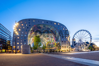 Night view of Rotterdam city with Markthal in Netherlands.