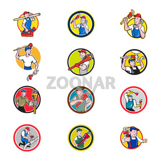 Plumber Mascot Circle Cartoon Set