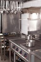 Professional kitchen in a restaurant, electric cooking surface
