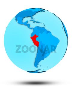 Peru on blue political globe