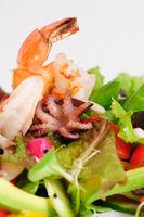 Seafood salad with fresh vegetables
