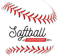 Softball ball on white background. Vector illustration