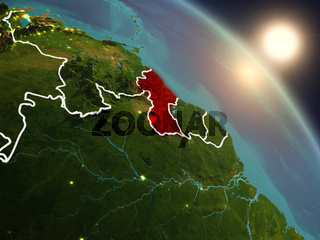Guyana from space during sunrise