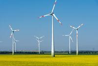 Moderne Windräder in einem blühenden Rapsfeld