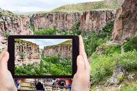gorge of Ihlara Valley in Cappadocia in Turkey