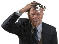 Front view of senior caucasian man worried about memory loss and dementia