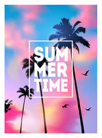 Summer tropical background with palms, sky and sunset. Summer placard poster flyer invitation card. Summertime.