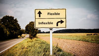 Street Sign Flexible versus Inflexible