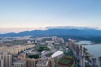 aerial view of beautiful jiujiang cityscape