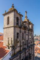 Facade of St Lawrence church in Porto Portugal