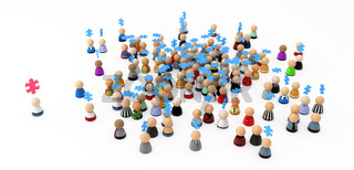 Cartoon Crowd, Teamwork Jigsaw