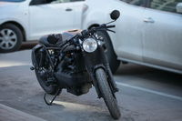 black motorcycle in the parking