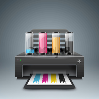Realistic 3d printer. Business infographic. Paper A4 icon.