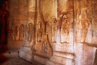 Cave 4 : Jaina Tirthankara images engraved on the inner pillars and walls. There are idols of Yakshas, Yakshis, Padmavati and other Tirthankaras. Badami caves, Badami, Karnataka.