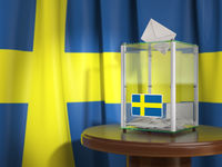 Ballot box with flag of Sweden and voting papers. Swedish presidential or parliamentary election.