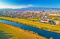 Sava river and Zagreb cityscape aerial view